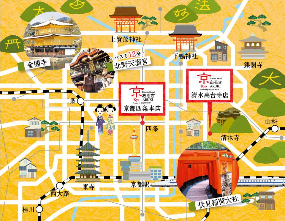 漫步京都周围的地图
