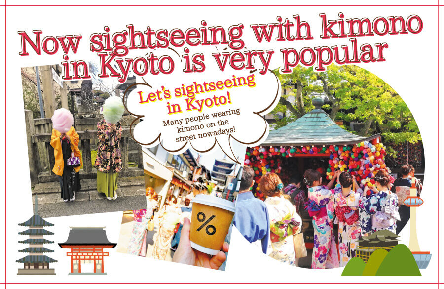 Now,sightseeing with kimono in Kyoto is very popular
