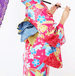 赤地のレンタル着物で京都を歩く