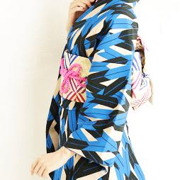 京あるきの青色のレンタル着物
