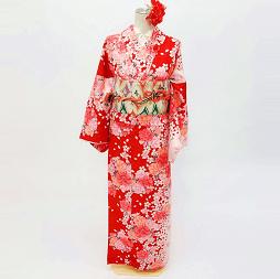京あるきプラン適用商品の赤色着物