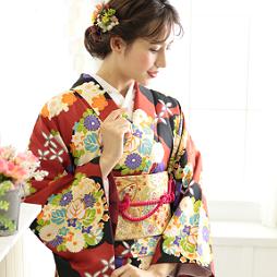 赤地の人気着物の京あるきおすすめコーディネート画像