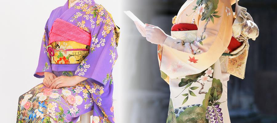 違う着物を着た二人の女性