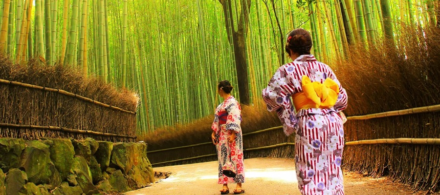 浴衣を着て京都観光する女性