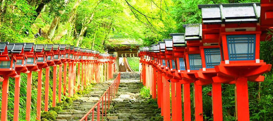 【貴船神社】パッと目を引く赤色の灯篭が美しい